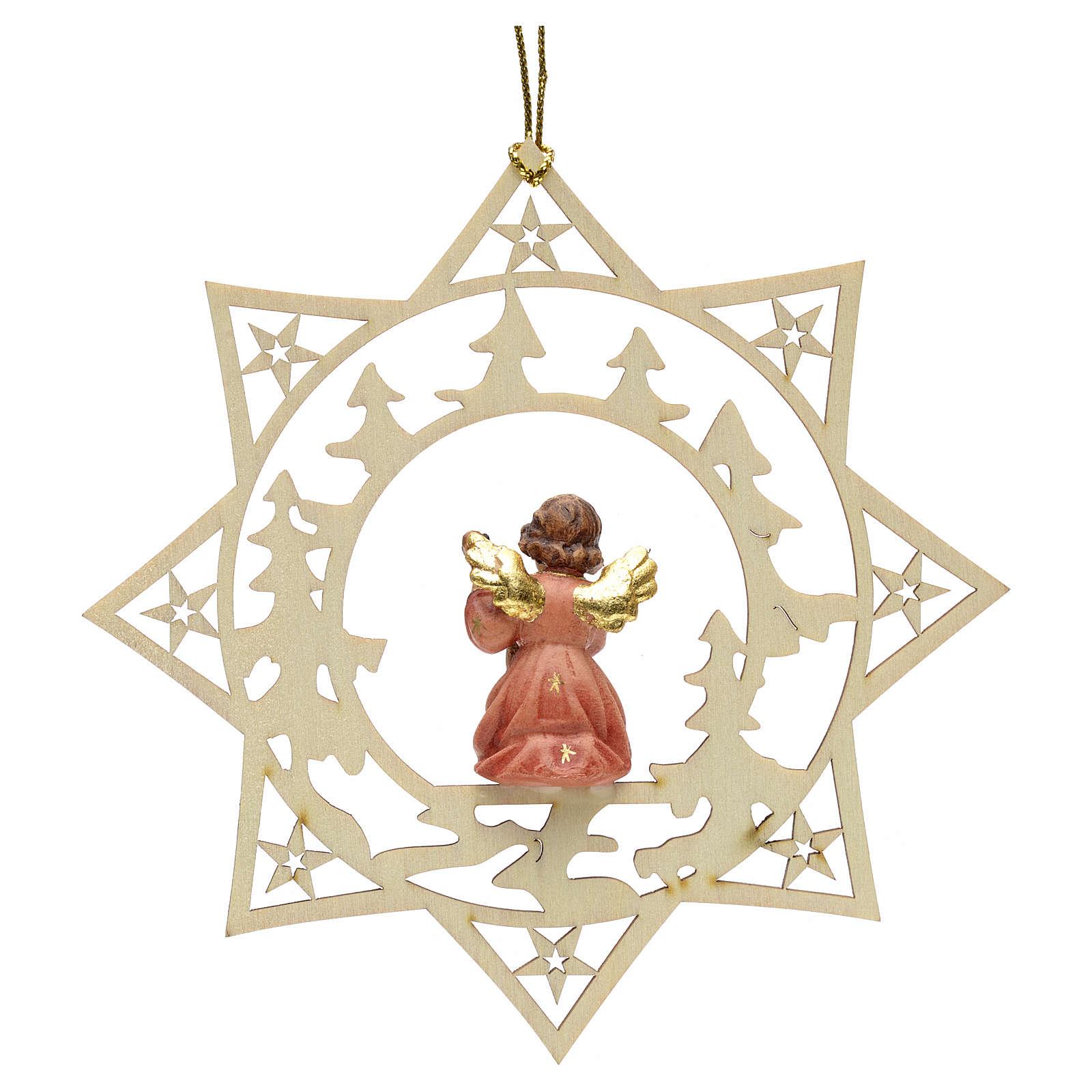 Ornement sapin Noël ange avec guitare sur étoile 4