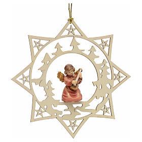 Ornement sapin Noël ange avec guitare sur étoile s1