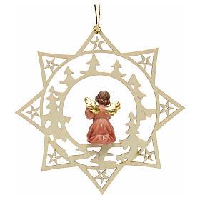 Ornement sapin Noël ange avec guitare sur étoile s2