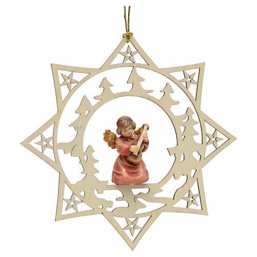 Ornement sapin Noël ange avec guitare sur étoile 1