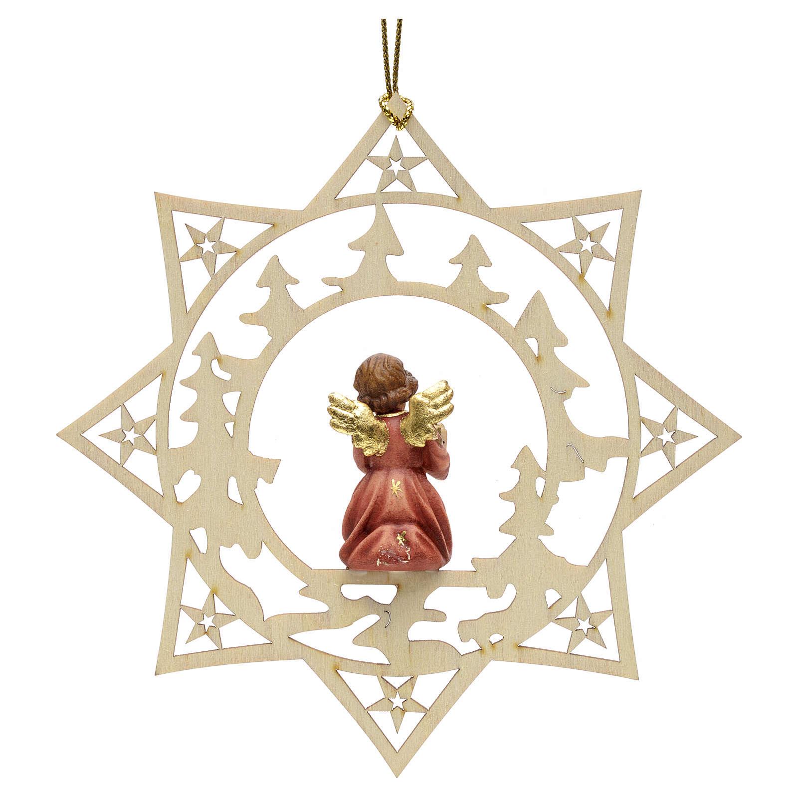 Ornement sapin Noël ange avec cadeau sur étoile 4