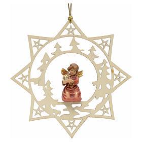 Ornement sapin Noël ange avec cadeau sur étoile s1