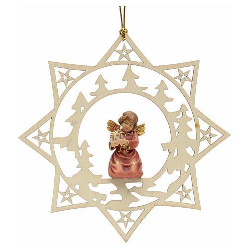 Ornement sapin Noël ange avec cadeau sur étoile 1