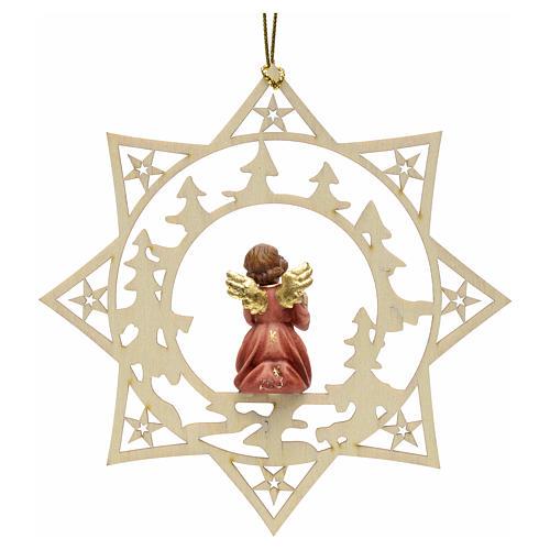 Ornement sapin Noël ange avec cadeau sur étoile 2