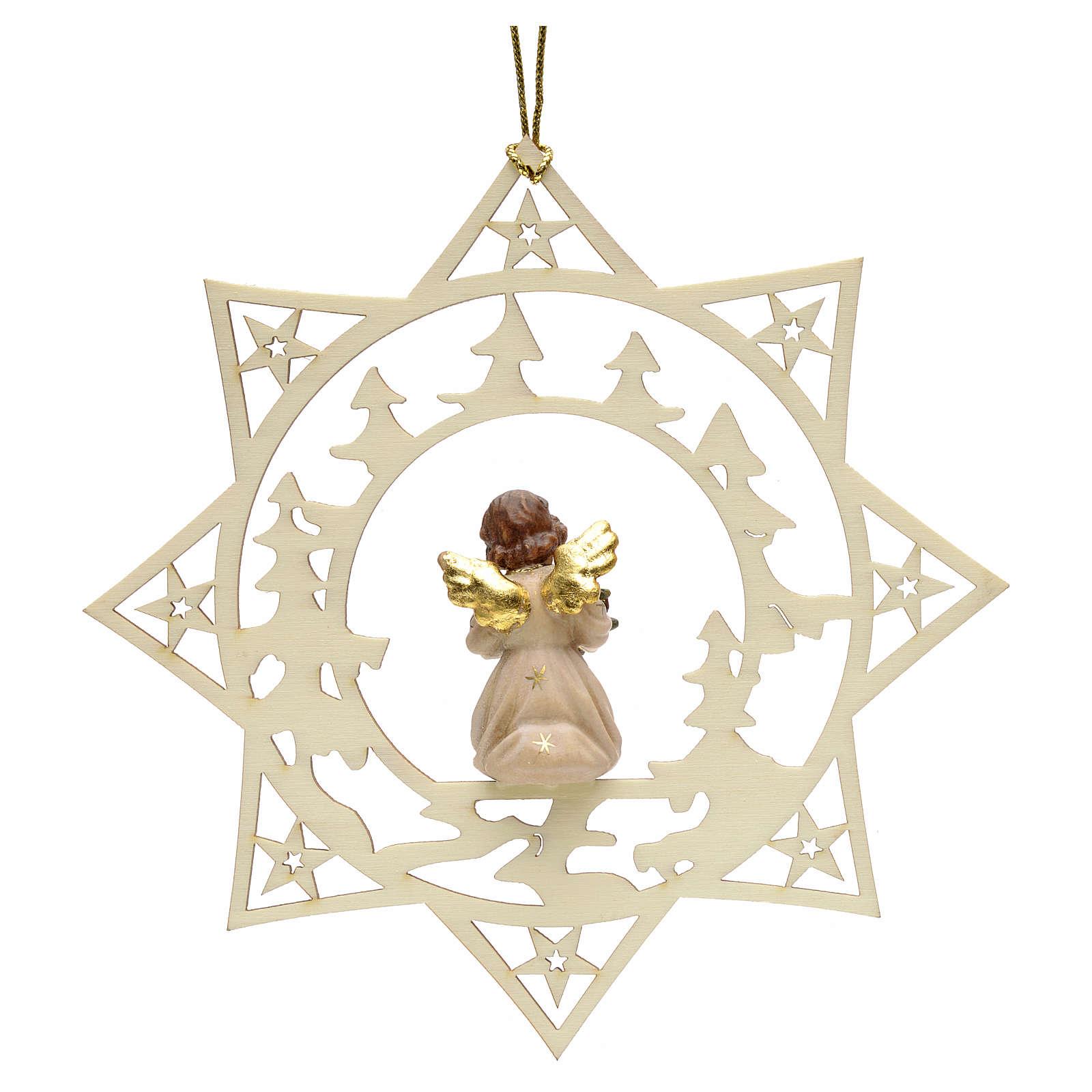 weihnachtsschmuck stern engel mit tannenbaum aus holz
