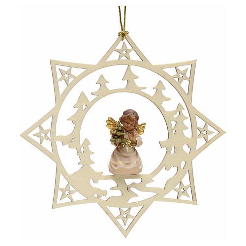 Decoración Angel con árbol y estrella y pinos 1