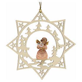 Ornement sapin Noël ange avec cor sur étoile s1