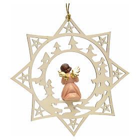 Ornement sapin Noël ange avec cor sur étoile s2