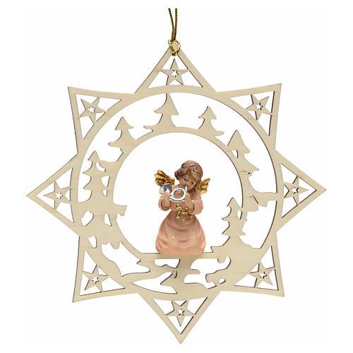 Ornement sapin Noël ange avec cor sur étoile 1