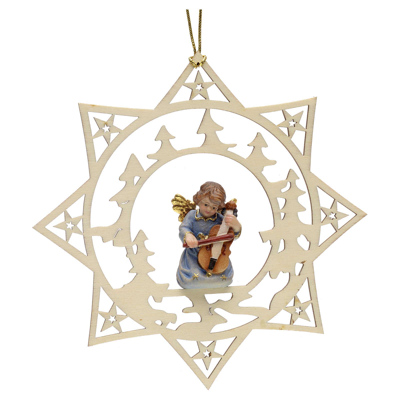 Ornement sapin Noël ange avec contrebasse sur étoile 4