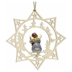Ornement sapin Noël ange avec contrebasse sur étoile s2