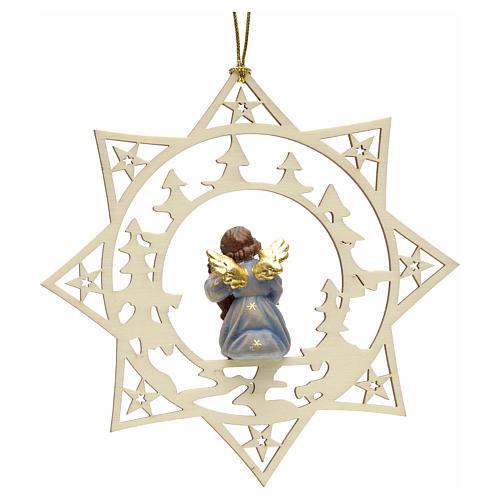 Ornement sapin Noël ange avec contrebasse sur étoile 2