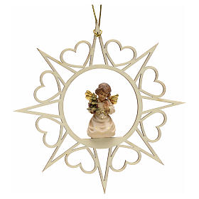 Christmas tree ornaments in wood and pvc: Christmas decoration angel with pine tree