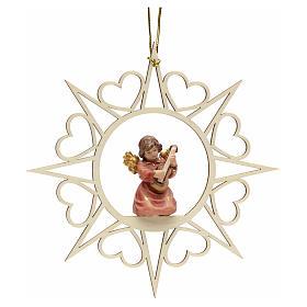 Adornos de madera y pvc para Árbol de Navidad: Decoración Ángel con estrellas corazoncitos y una