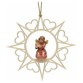 Adornos de madera y pvc para Árbol de Navidad: Decoración Ángel con estrellas corazoncitos