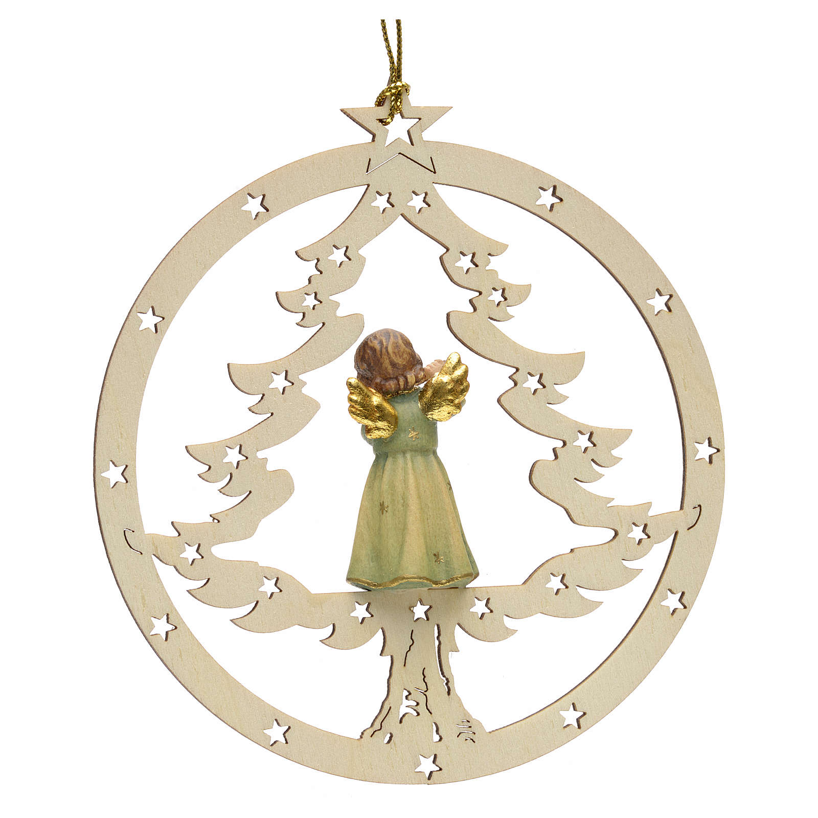 Tree decoration, angel on fir with flute 4