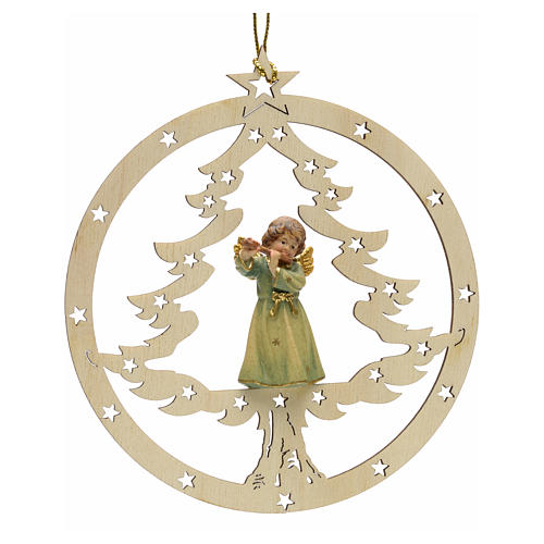 Tree decoration, angel on fir with flute 1