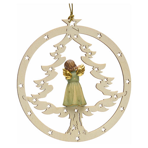 Tree decoration, angel on fir with flute 2