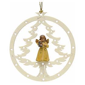 Adornos de madera y pvc para Árbol de Navidad: Decoración Ángel con linterna, abeto