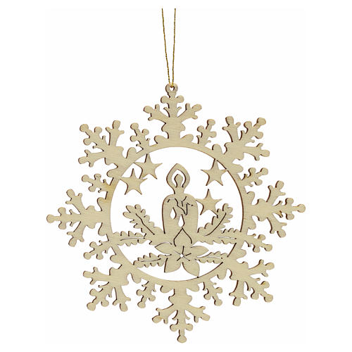 Tree decoration, wooden snowflake with candle 1