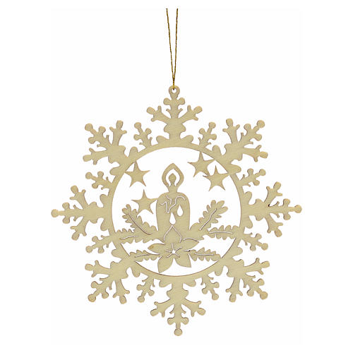 Tree decoration, wooden snowflake with candle 2