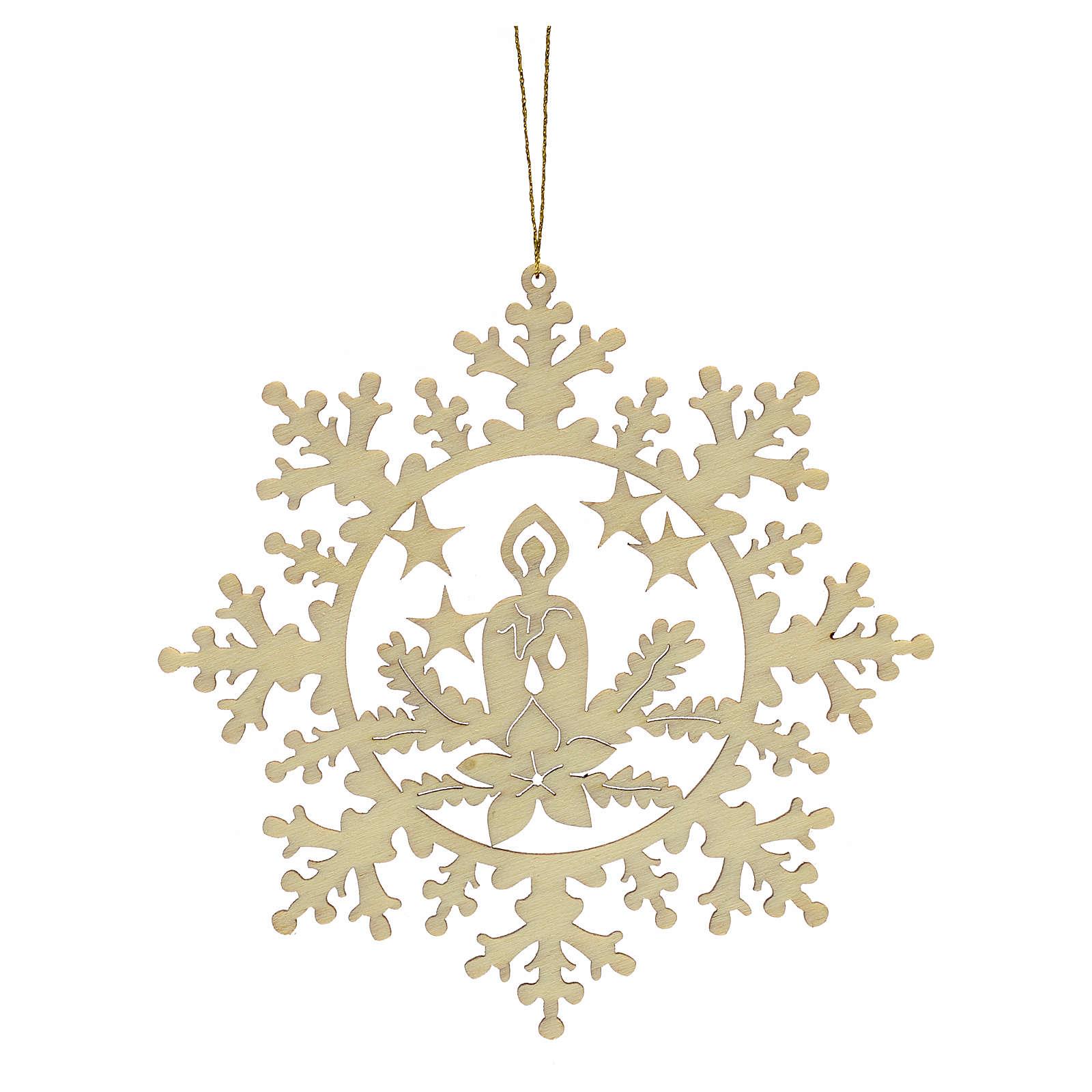 Decoración Navidad estrella nieve con vela, madera 4