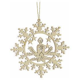 Decoración Navidad estrella nieve con vela, madera s1