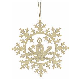 Decoración Navidad estrella nieve con vela, madera s2