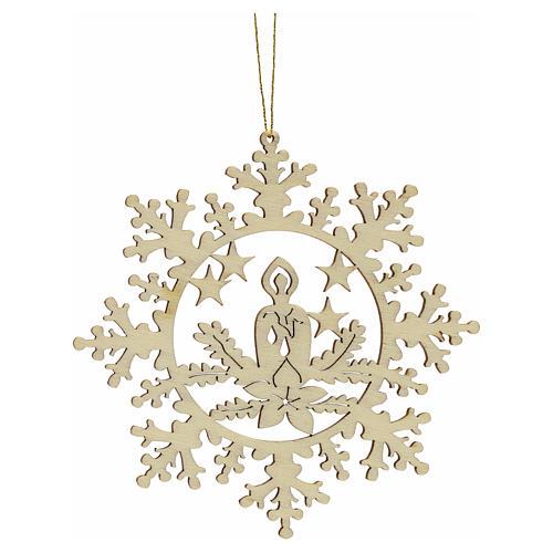Decoración Navidad estrella nieve con vela, madera 1