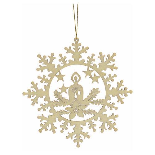 Addobbo di Natale stella neve con candela legno 2