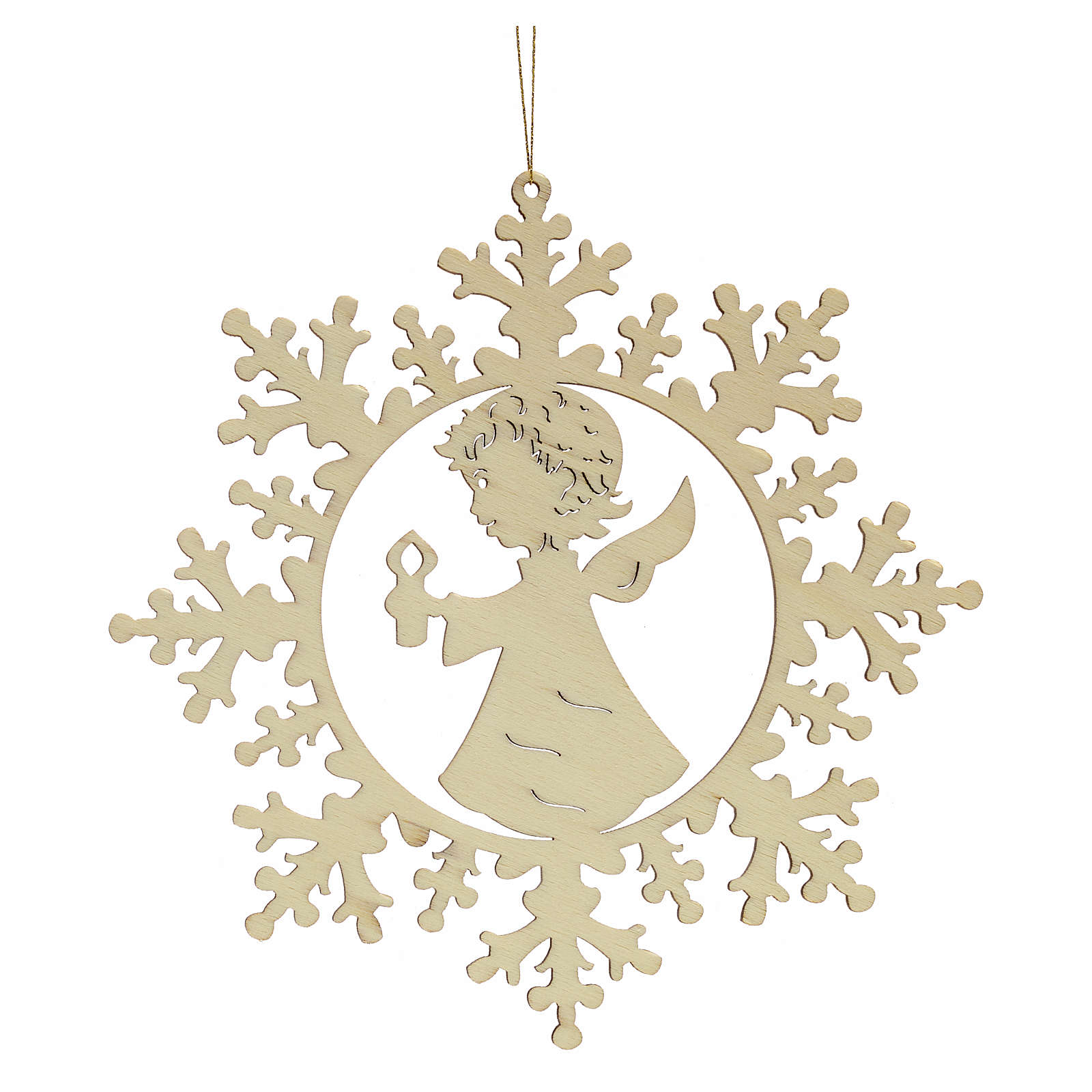 Tree decoration, wooden snowflake with candle and angel 4