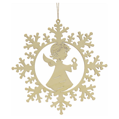 Tree decoration, wooden snowflake with candle and angel 1