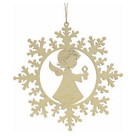 Decoración Navidad estrella nieve con angelito y vela s1