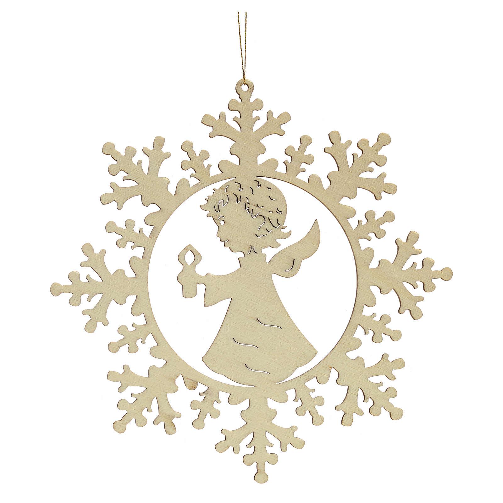Ozdoba bożonarodzeniowa płatek śniegu z aniołkiem i świecą 4