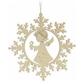 Ozdoba bożonarodzeniowa płatek śniegu z aniołkiem i świecą s2