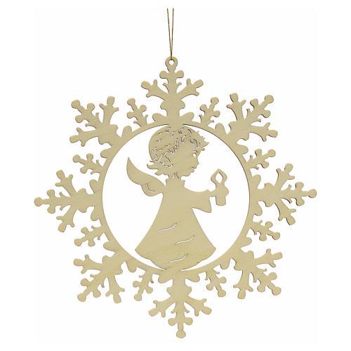 Ozdoba bożonarodzeniowa płatek śniegu z aniołkiem i świecą 1