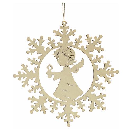 Ozdoba bożonarodzeniowa płatek śniegu z aniołkiem i świecą 2