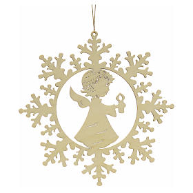 Tree decoration, wooden snowflake with candle and angel s1