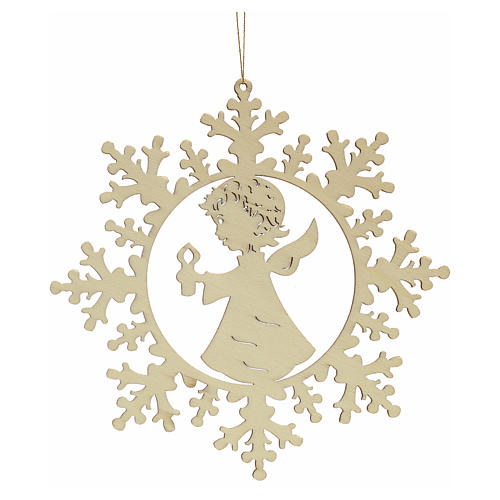 Tree decoration, wooden snowflake with candle and angel 2