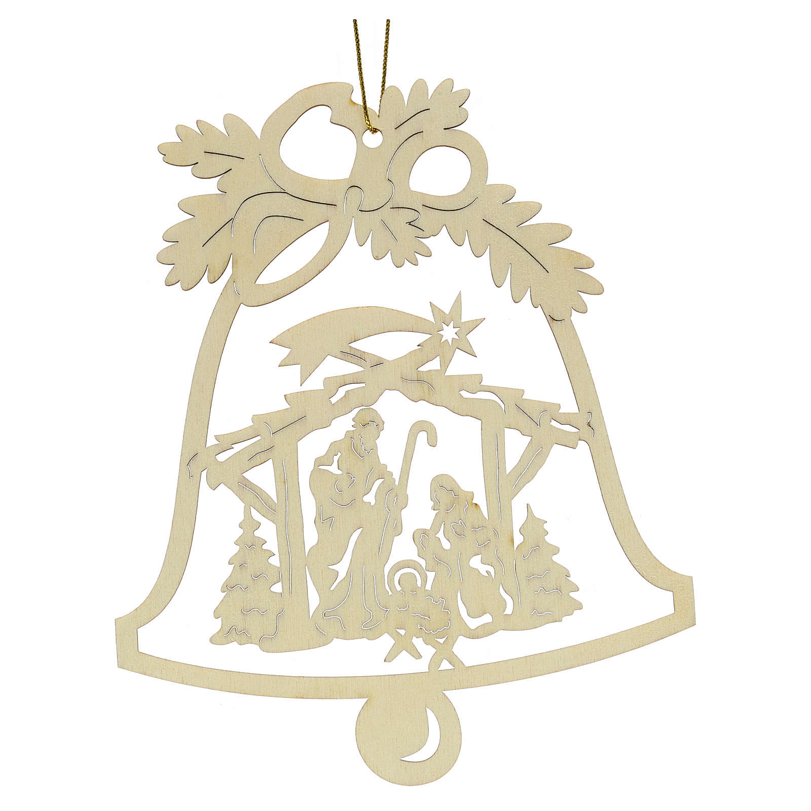 Tree decoration, wooden bell with nativity 4