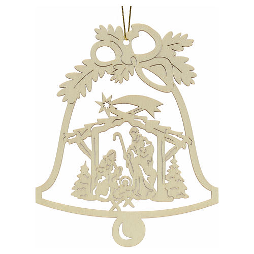 Tree decoration, wooden bell with nativity 1