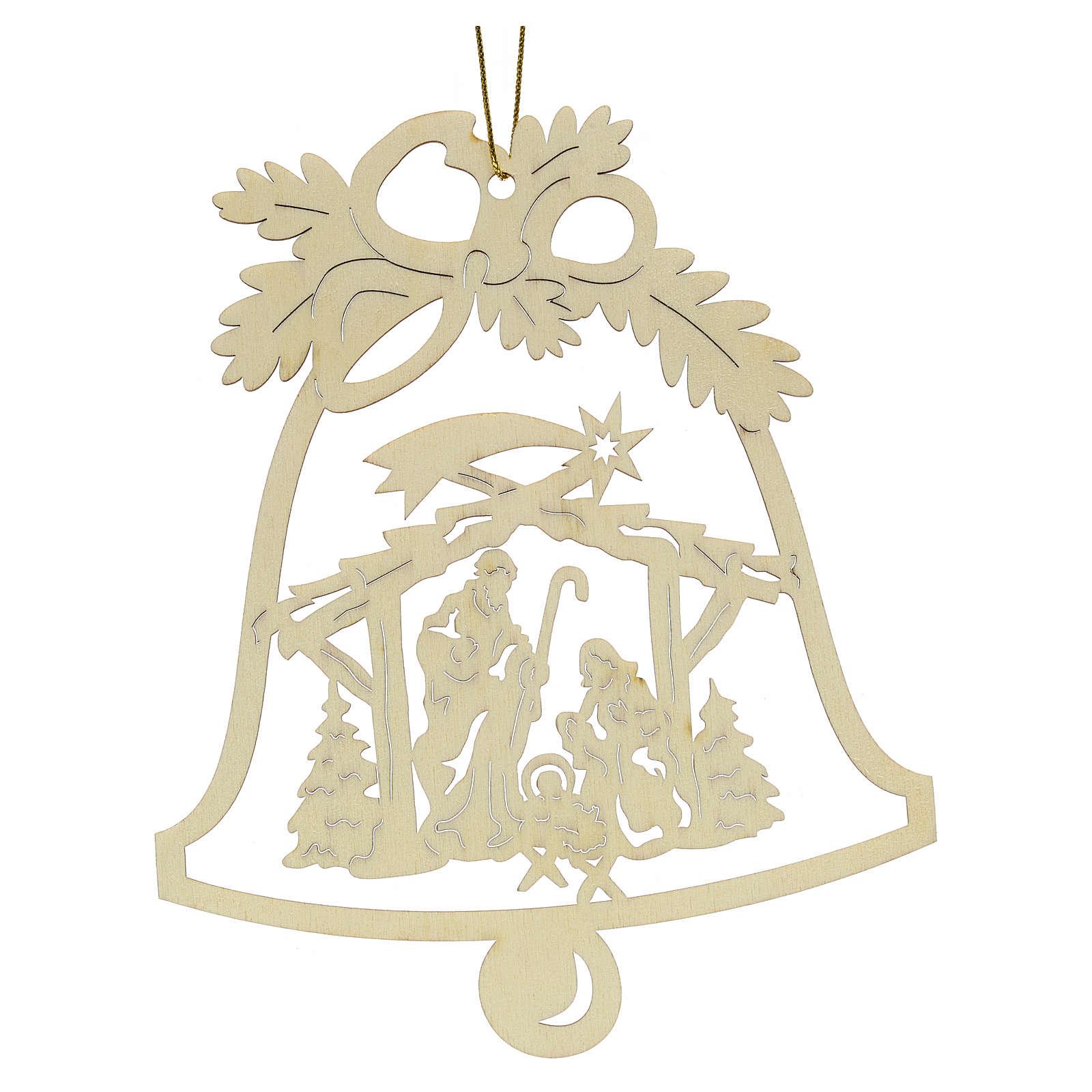 Addobbo Natale campanella con presepe legno 4
