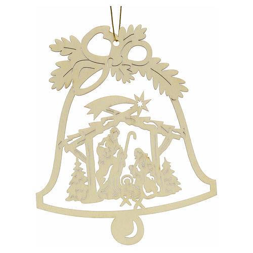 Addobbo Natale campanella con presepe legno 2