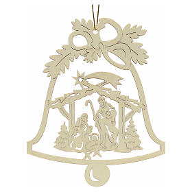 Tree decoration, wooden bell with nativity s1