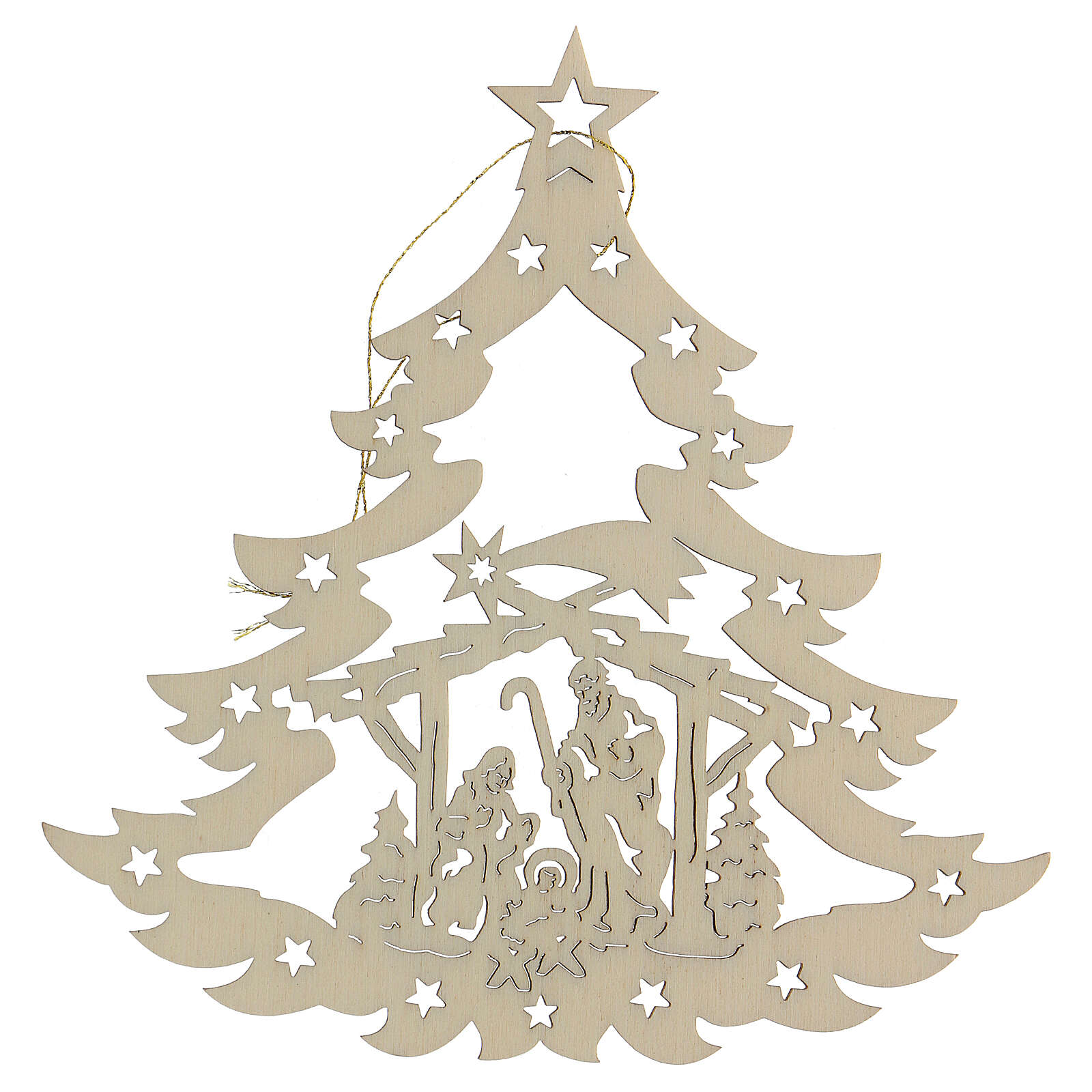 Christmas decor Christmas Tree With Wood Nativity 4