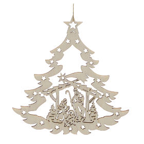 Adornos de madera y pvc para Árbol de Navidad: Decoración Navidad árbol con pesebre madera