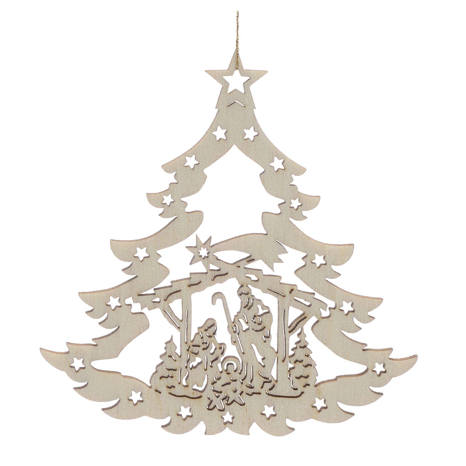 Addobbo natalizio albero con presepe legno 4
