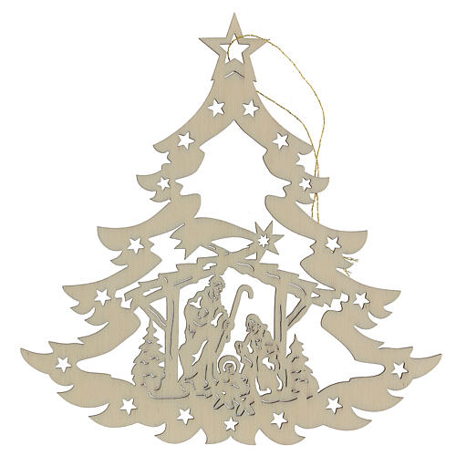 Addobbo natalizio albero con presepe legno 1