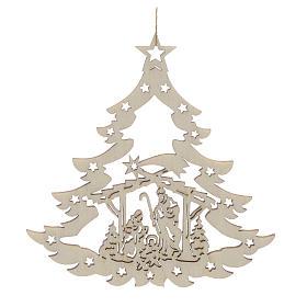 Ozdoby choinkowe z drewna i pvc: Ozdoba bożonarodzeniowa drzewko z szopką drewno