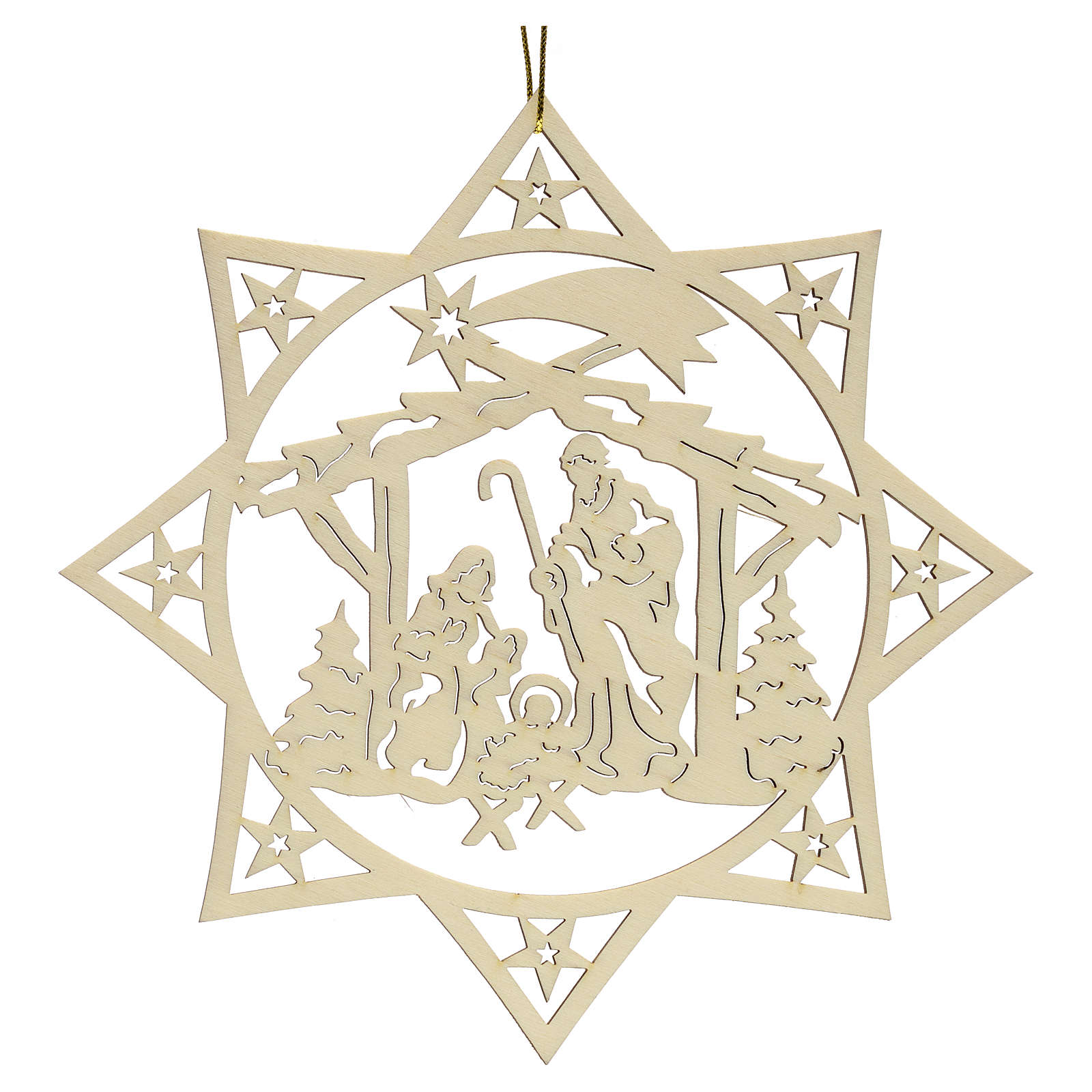 Weihnachtsschmuck Stern mit Krippe aus Holz 4